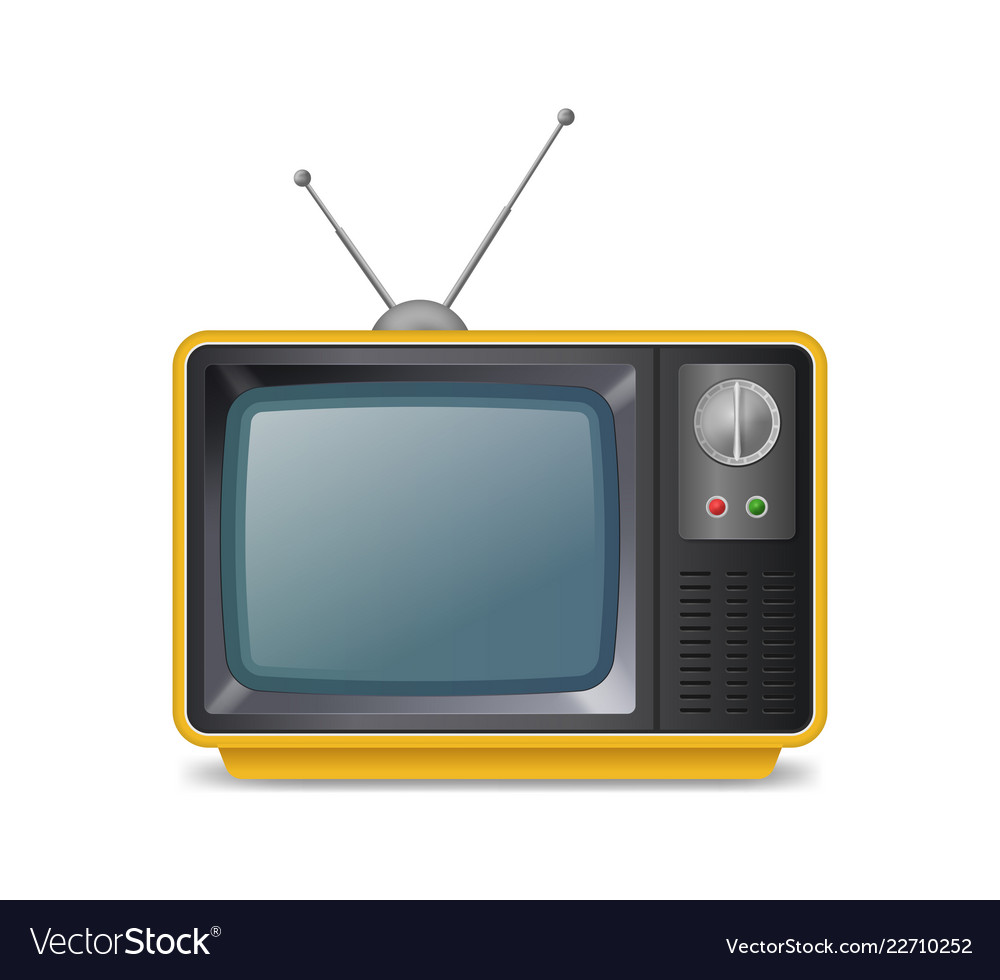 Realistic detailed 3d retro tv with antenna