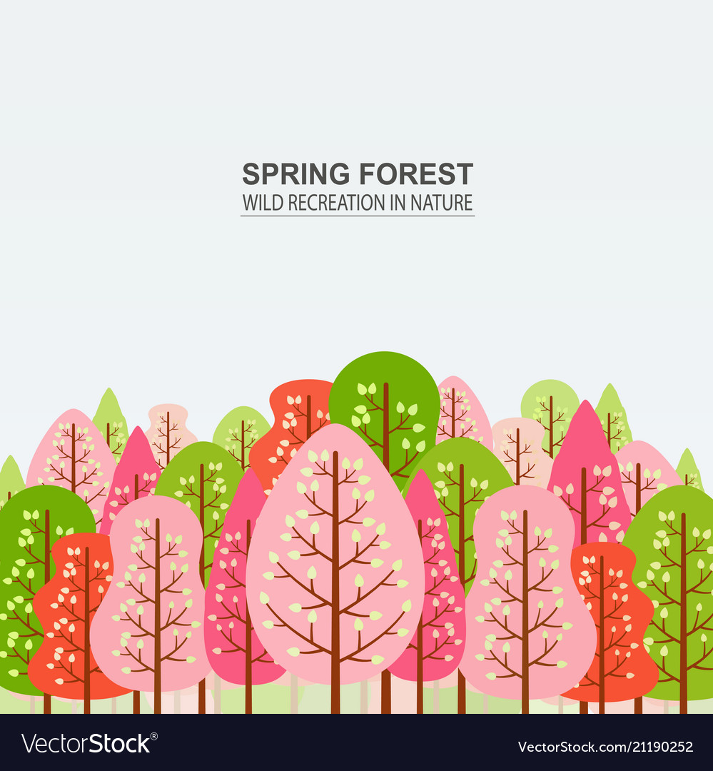 Spring forest with pink red and green trees