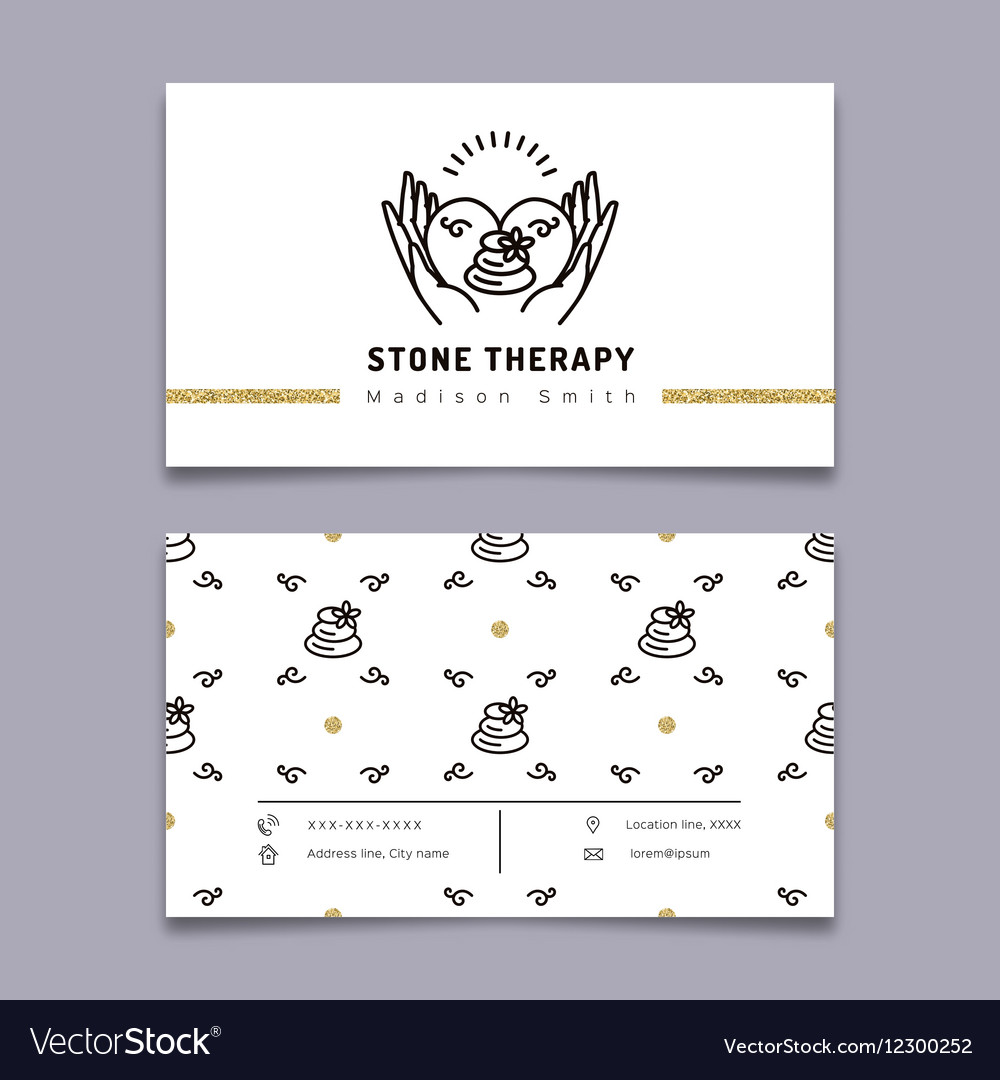 Stone therapy business card Massage beauty spa Vector Image