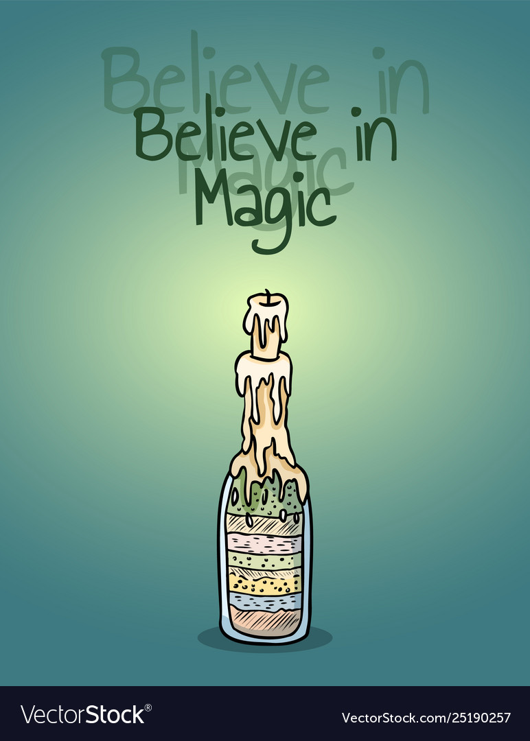 Believe in magic witch bottle candle poster light