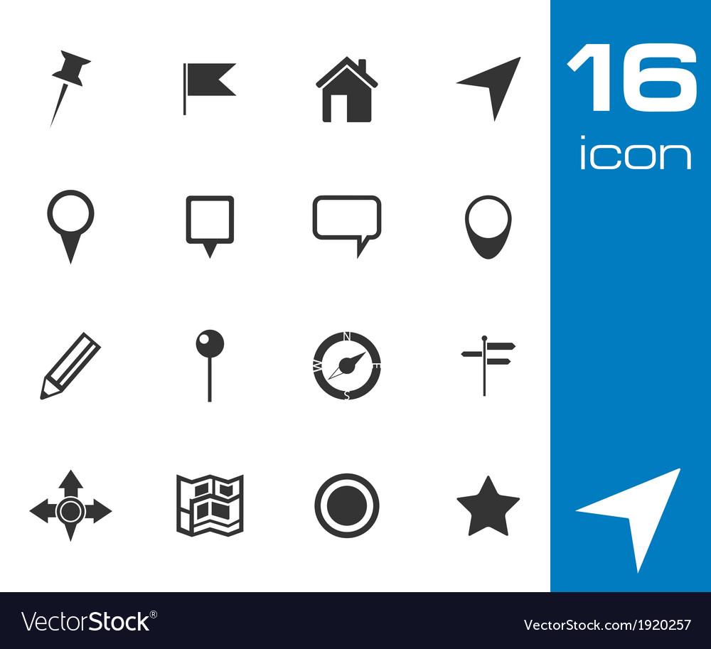 Black map icon set