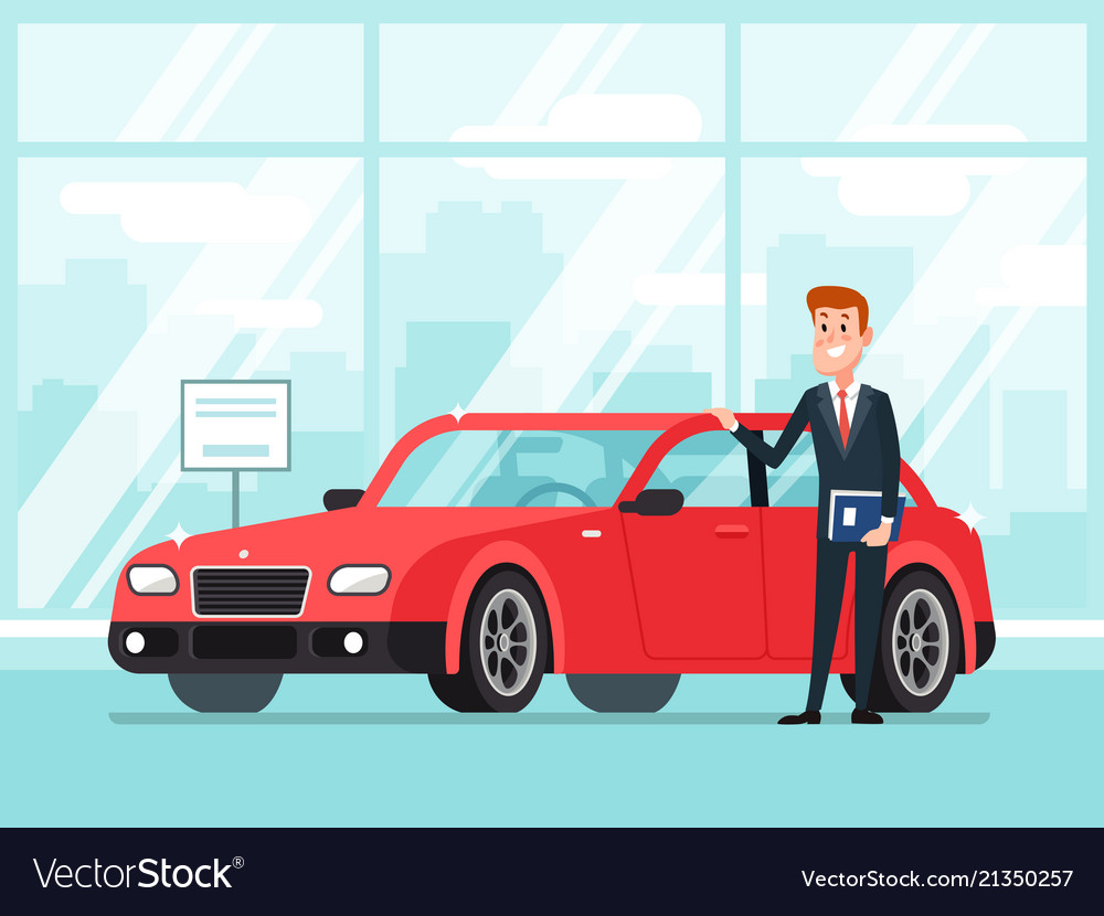 Car salesman in dealer showroom new cars sales