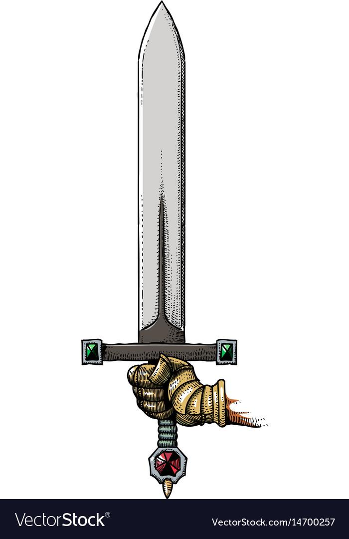 Cartoon image of hand holding sword