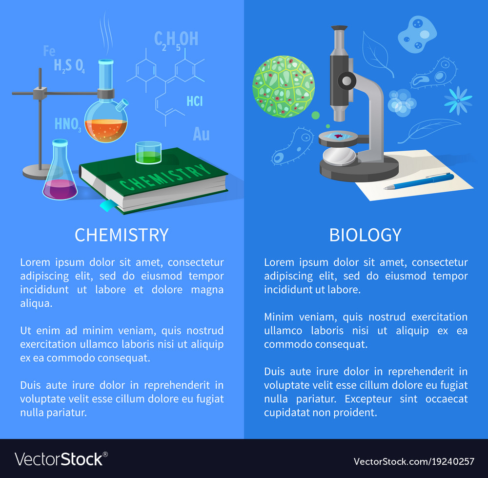 Chemistry and biology banners with flasks