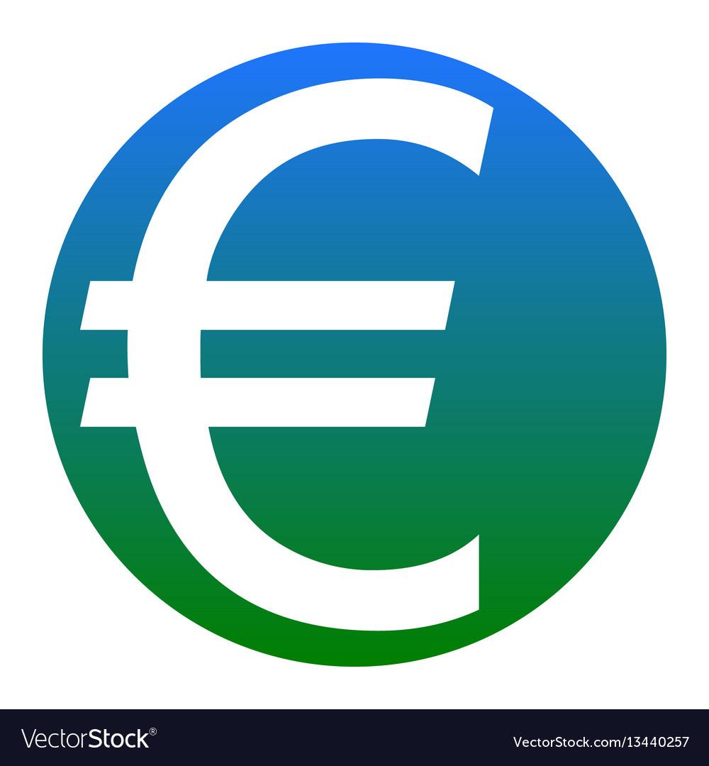 Euro sign white icon in bluish circle on