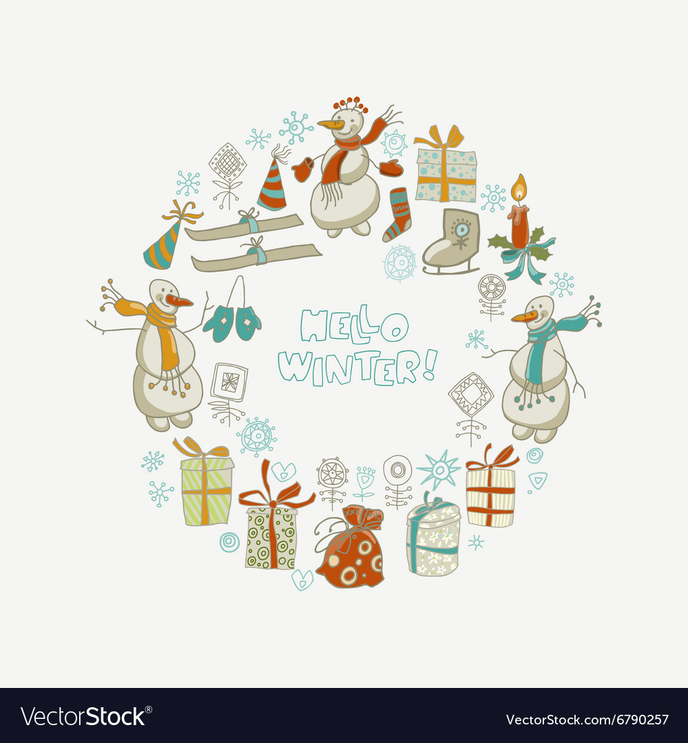 Happy New Year and Christmas card with hand draw Vector Image