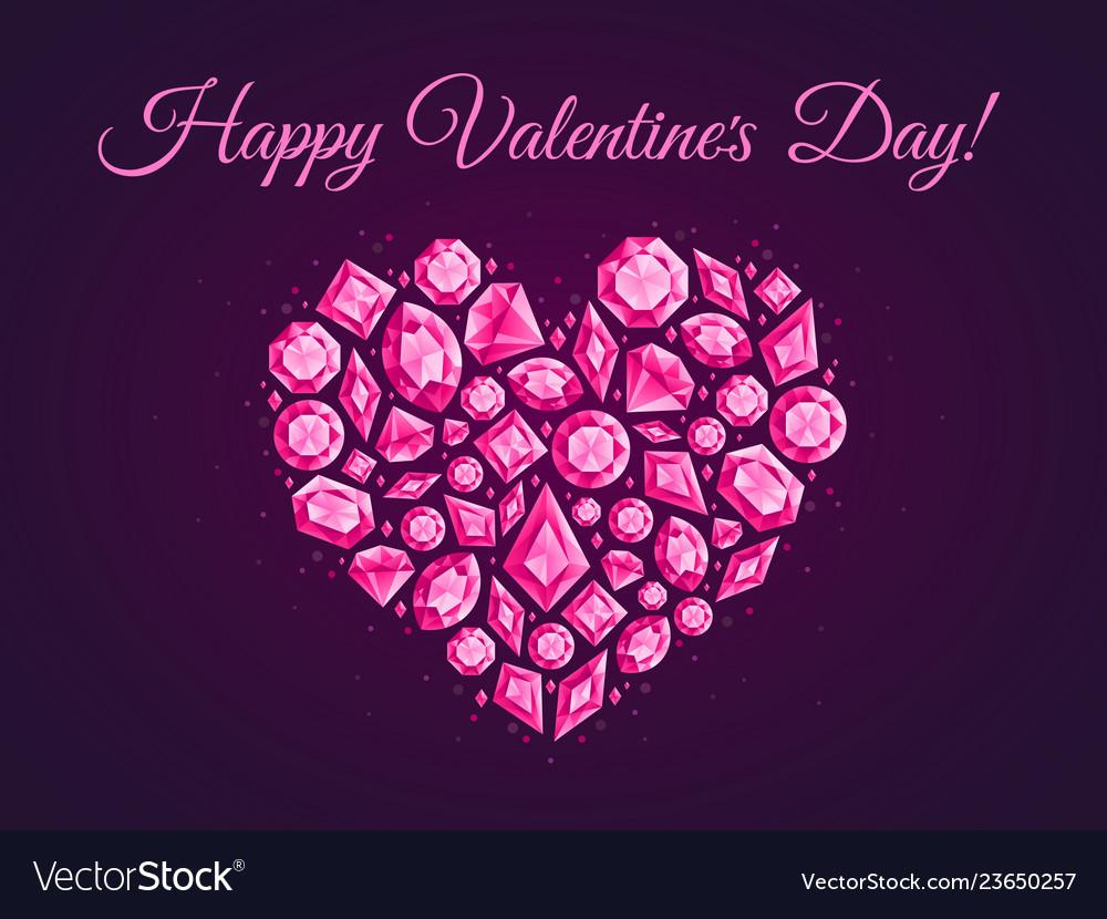 Jewelry love heart greeting card jewels diamonds