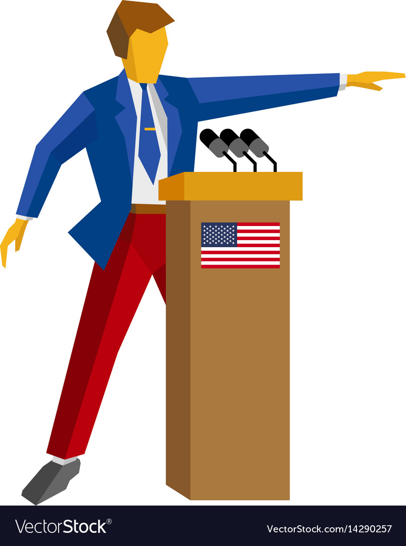 Speaker at podium with usa flag vector image