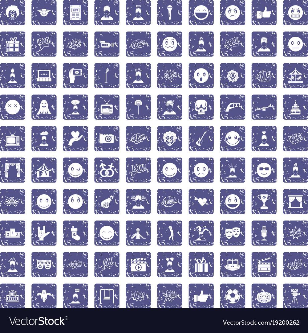 100 emotion icons set grunge sapphire