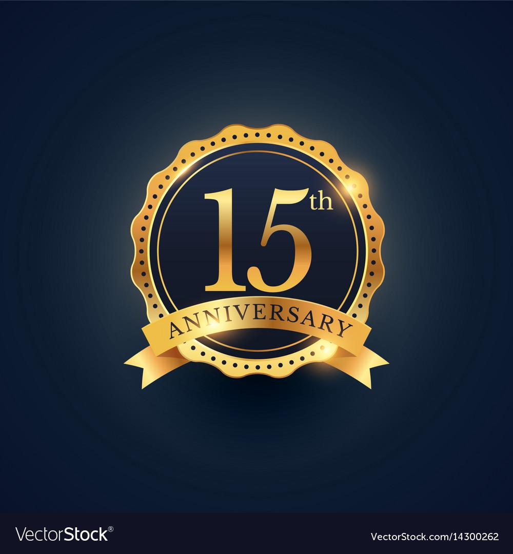15th anniversary celebration badge label in