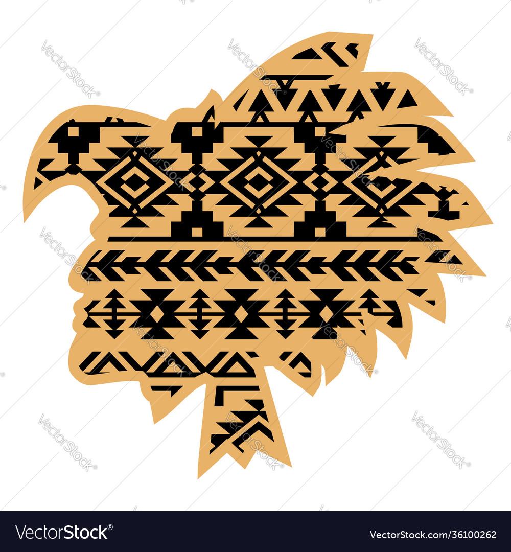 Aztec tribal warrior with aztec southwest pattern