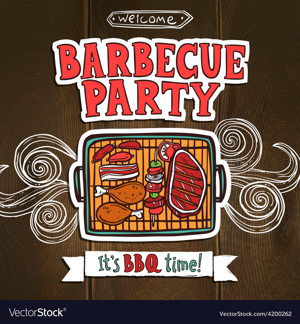 bbq grill party poster royalty free vector image