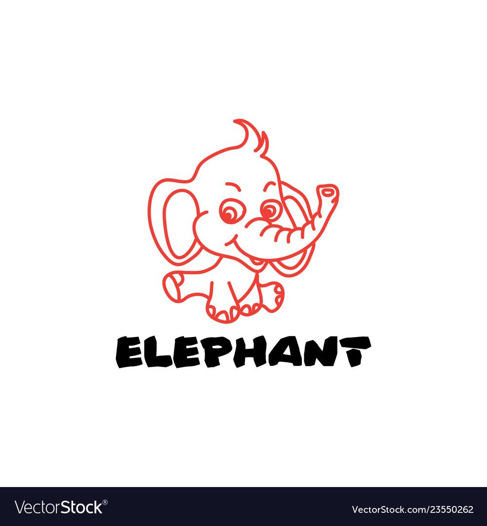 Elephant logo emblem line art outline