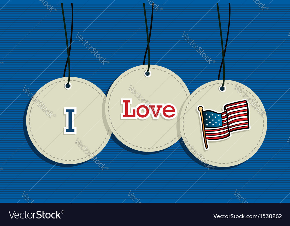 Hanging Patriotic USA badges vector image