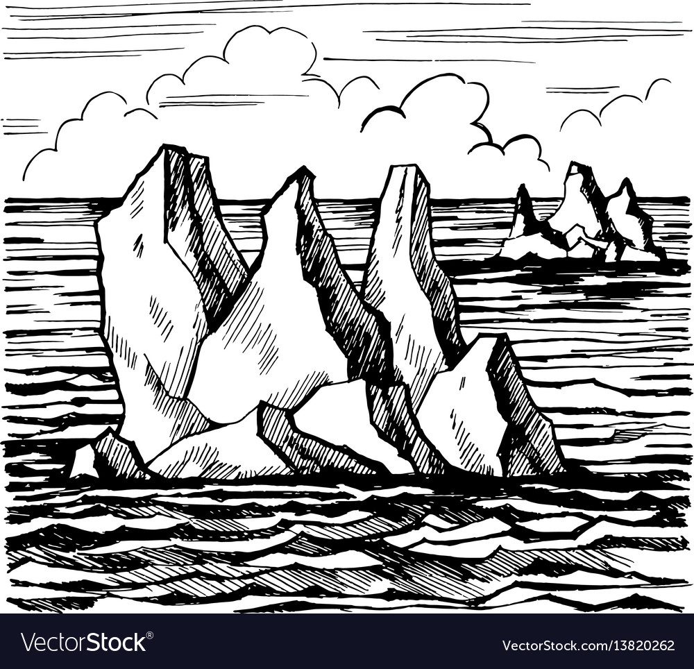 Iceberg sketch hand drawn cartoo