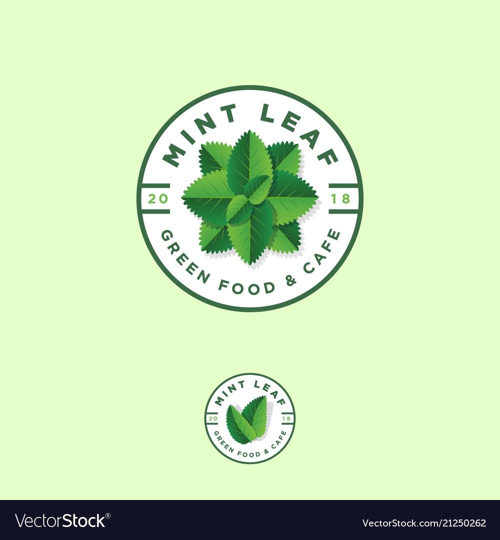 Mint leaf logos green food grocery store emblem