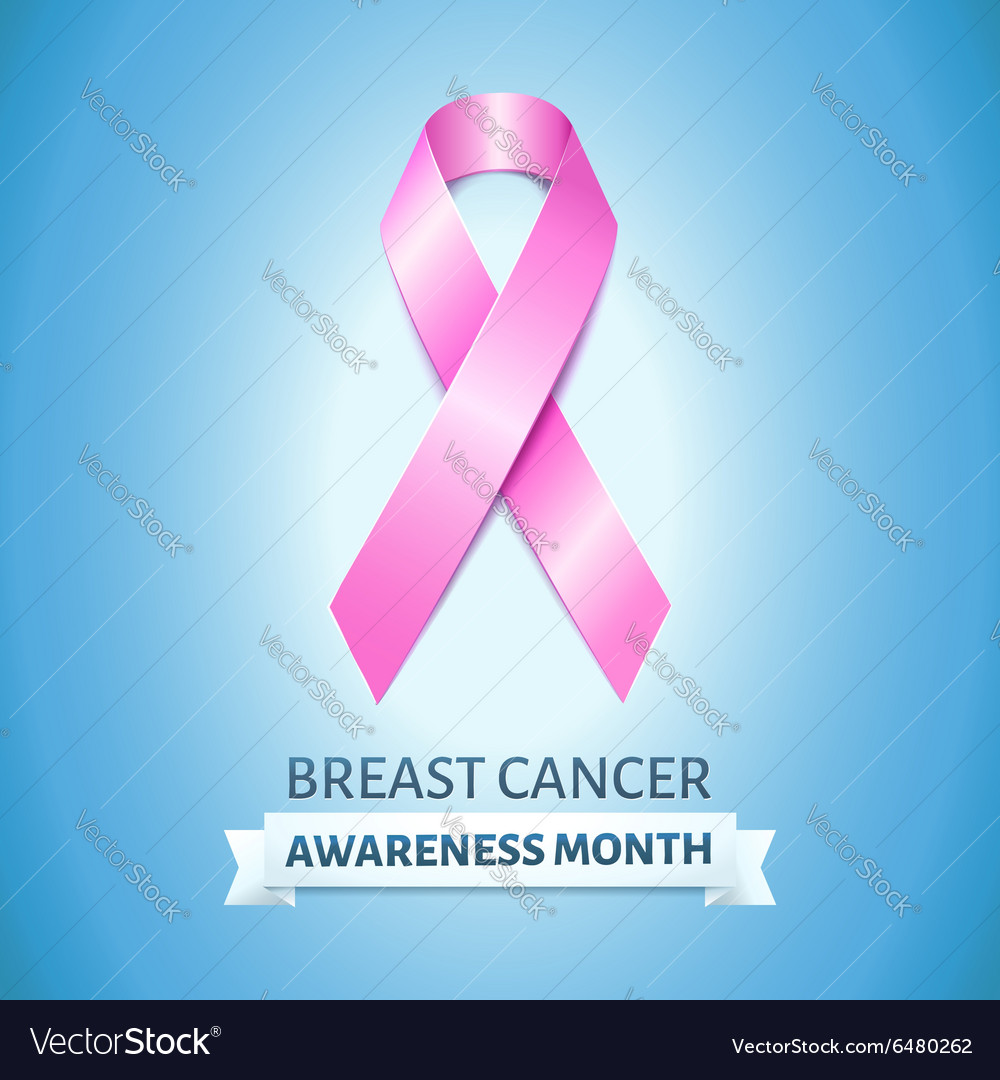 Realistic pink ribbon on blue breast cancer