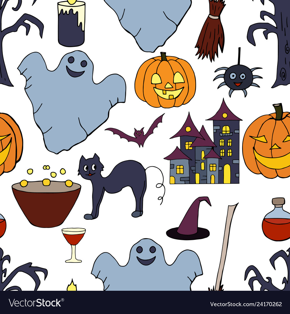 Seamless pattern with hand drawn halloween element