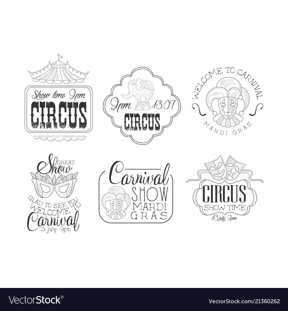 Set of hand drawn signs for circus and