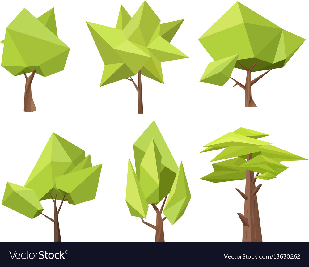 The Different Conceptual Green Trees With Vector Image