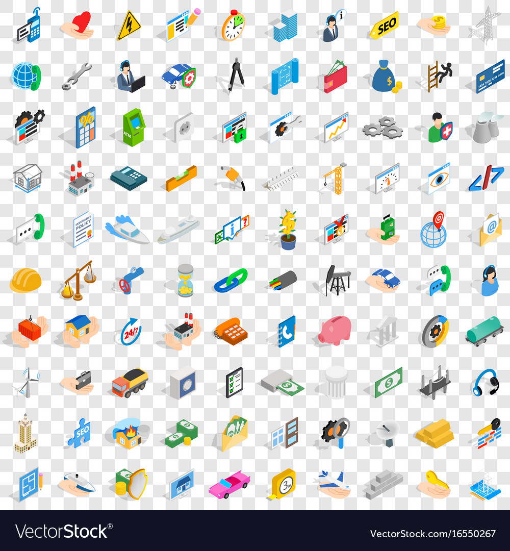 100 firm icons set isometric 3d style