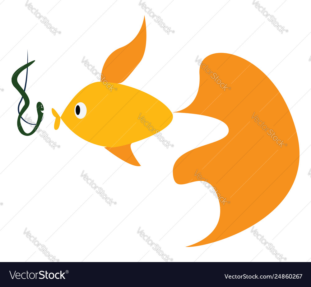 A fish swimming towards bait color drawing or
