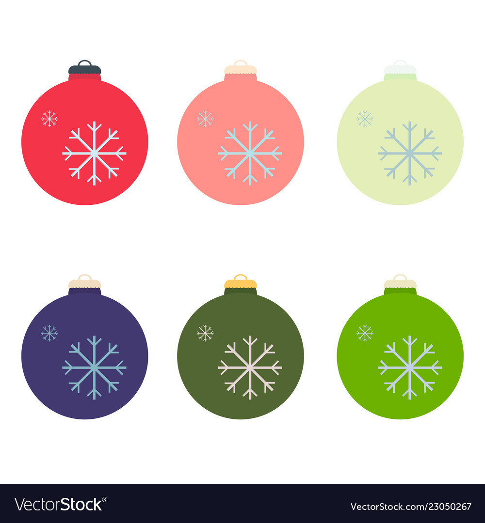 A Set Of Christmas Decorative Balls In The Style Vector Image