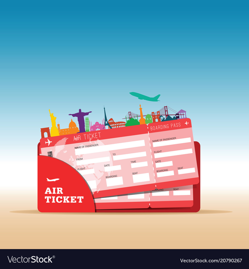 Air ticket travel with icon in red