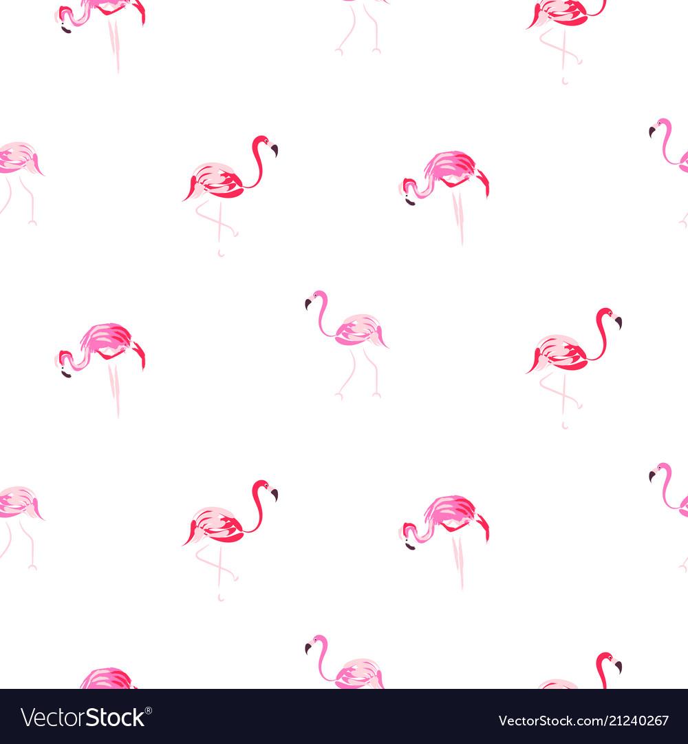 Flamingo pink cartoon hand drawn seamless pattern