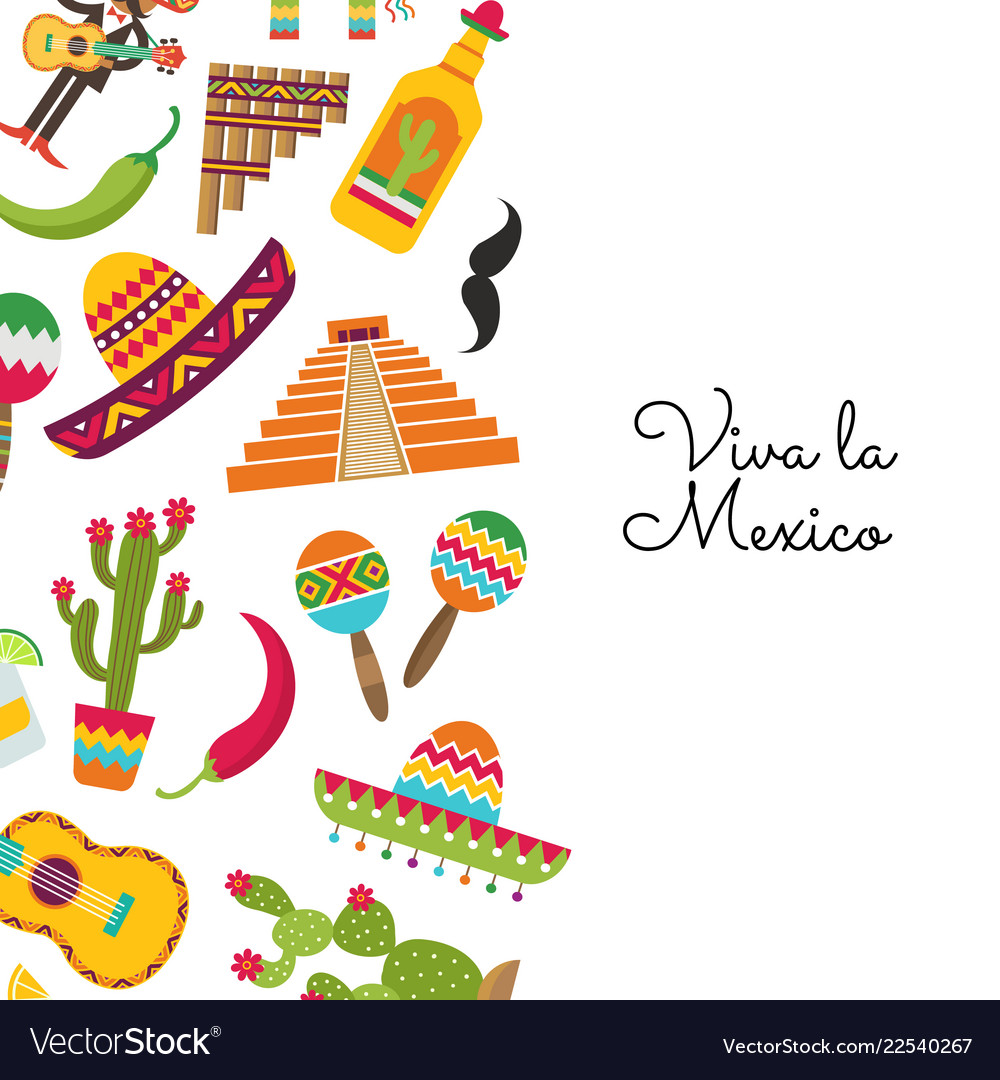 Flat mexico background with place text