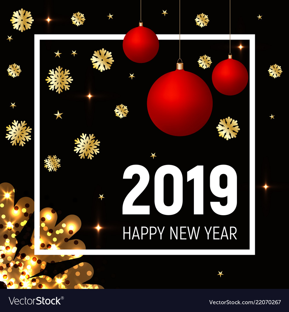 Golden snowflakes and red balls new year 2019