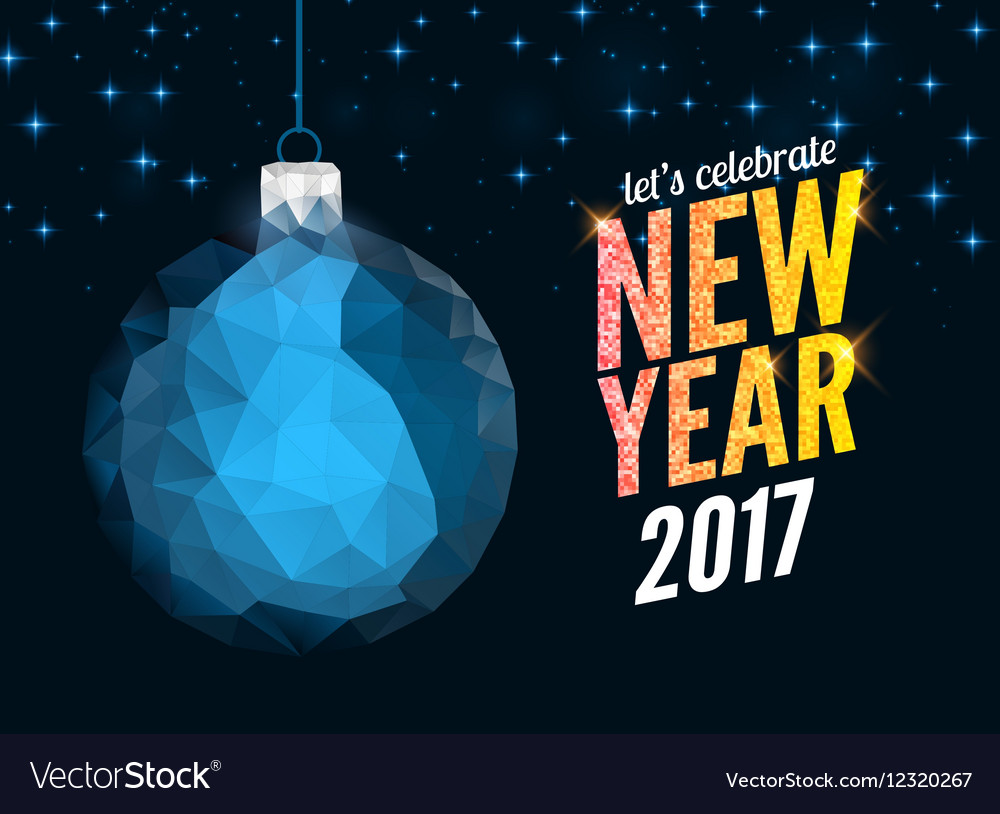 Merry christmas and happy new year blue polygonal