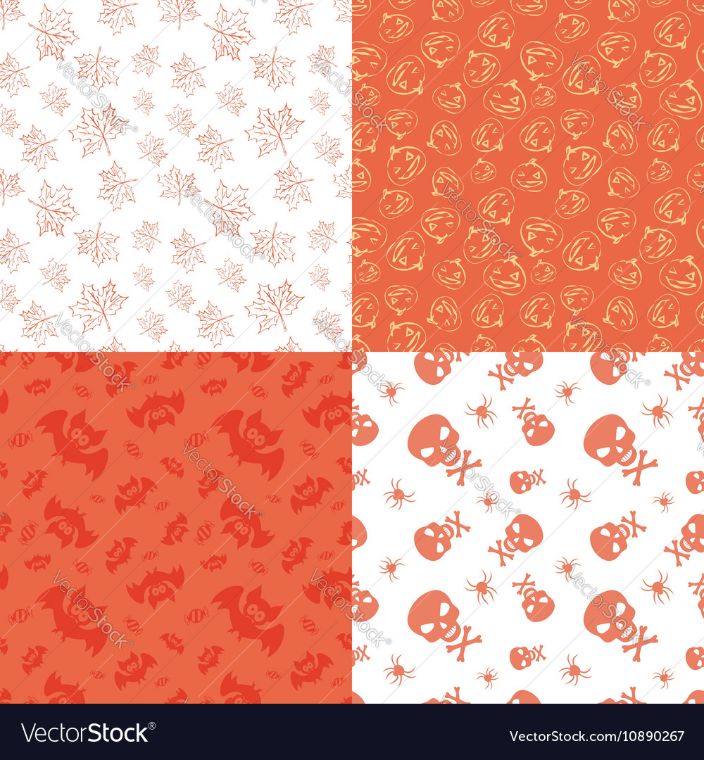 Set of 4 halloween seamless backgrounds