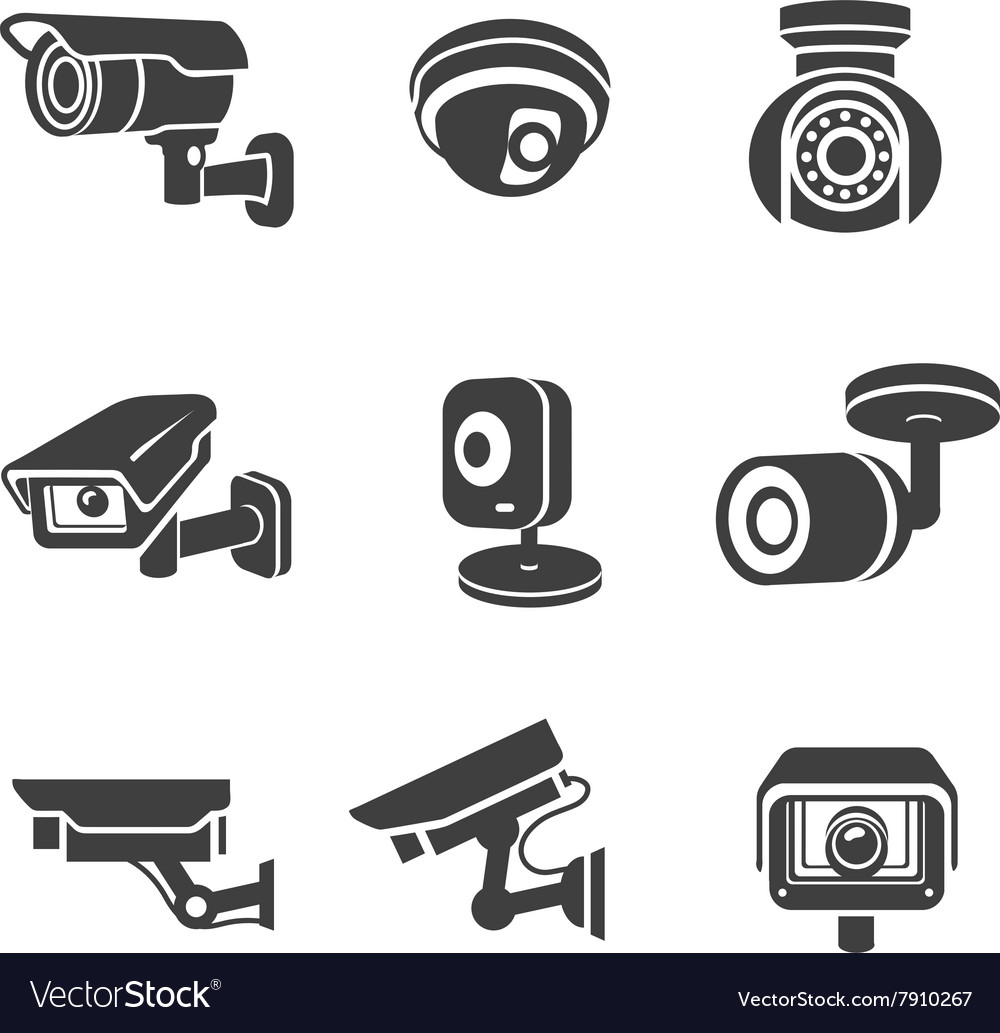 Video surveillance security cameras graphic icon vector image