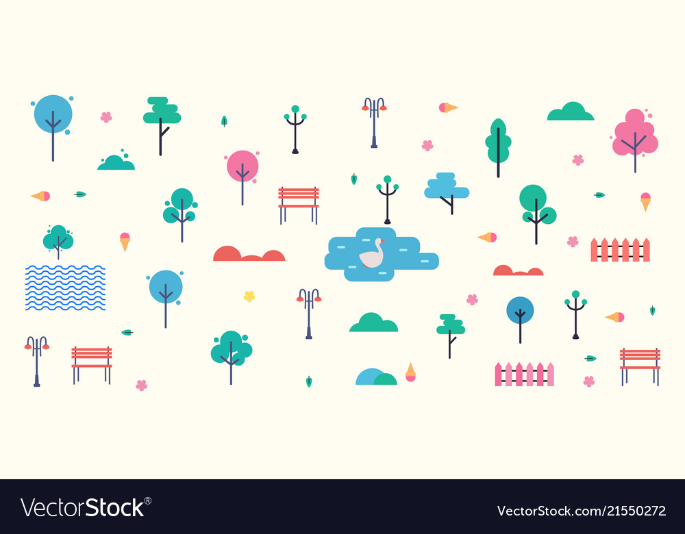 Abstract city park isolated on white background