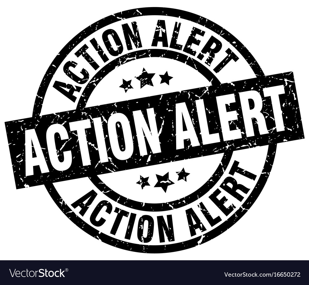 Action alert round grunge black stamp vector image on VectorStock