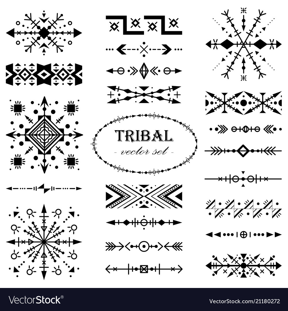 Black-and-white set of elements in tribal style