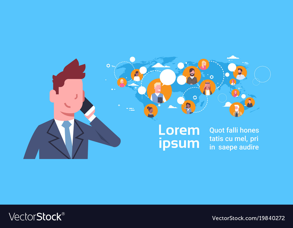 Business man talking on cell phone over