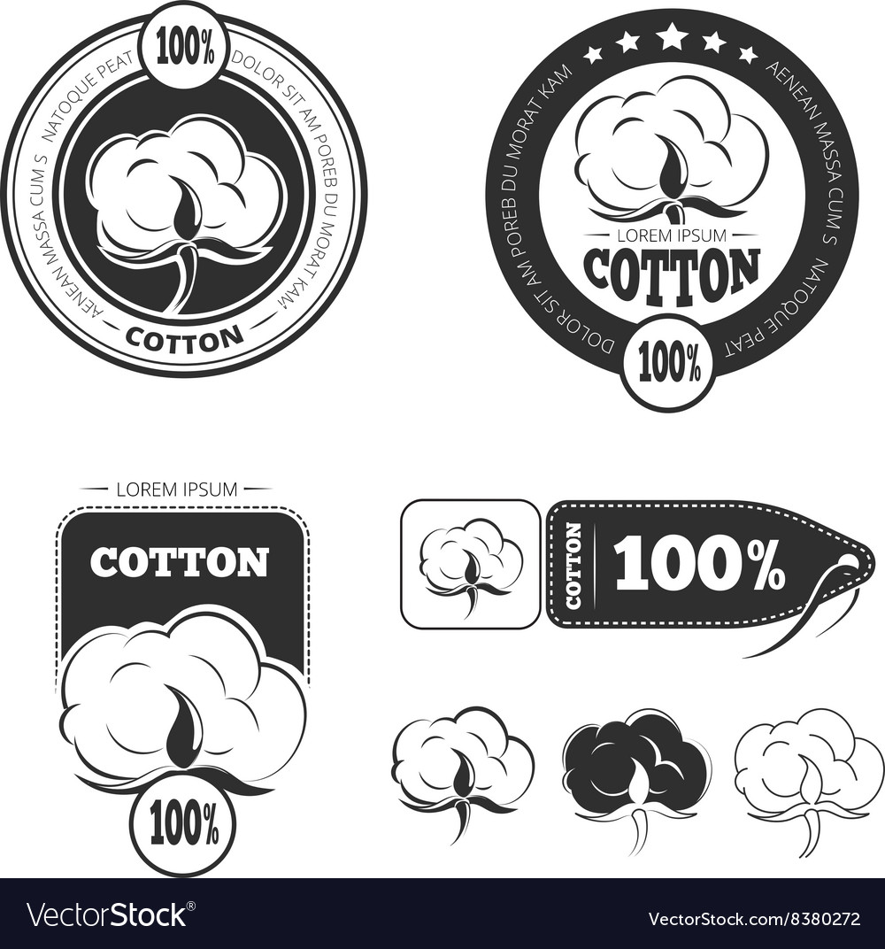 Cotton vintage logo labels and badges set