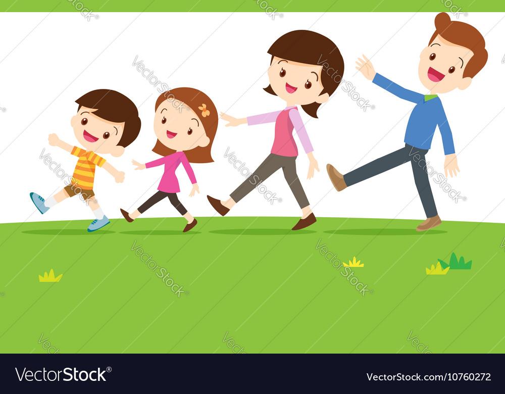 Cute family walking