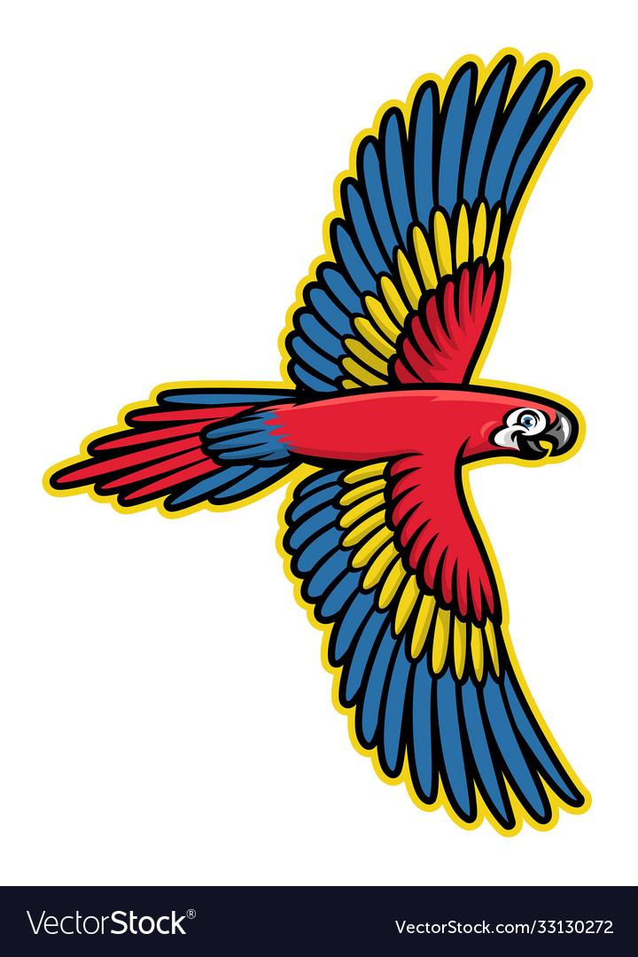 Flying parrot bird mascot logo