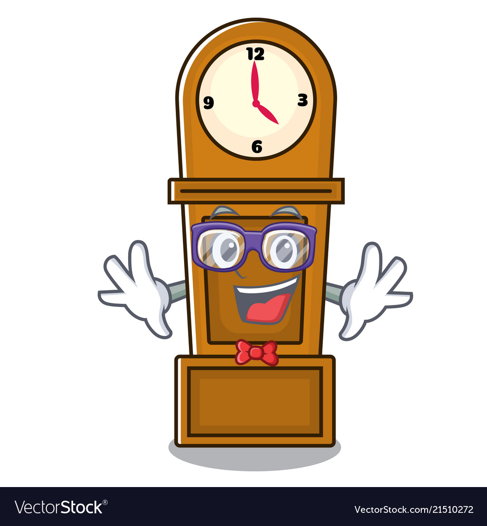 Geek grandfather clock character cartoon