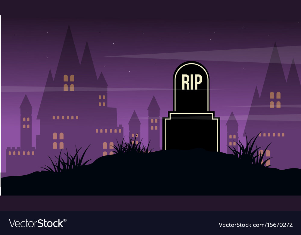 Graveyard and castle landscape halloween day vector image