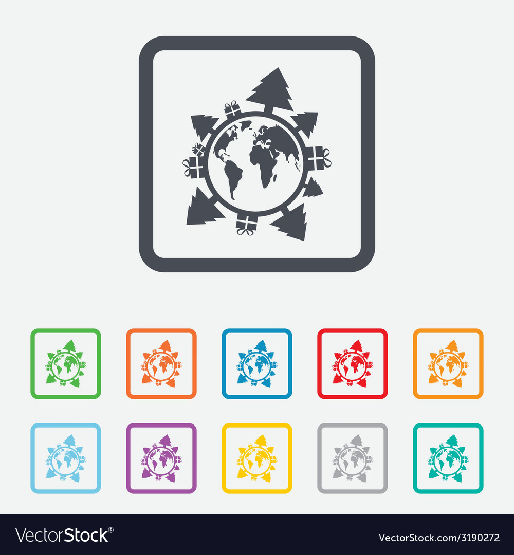 Happy new year earth sign icon Gifts and trees