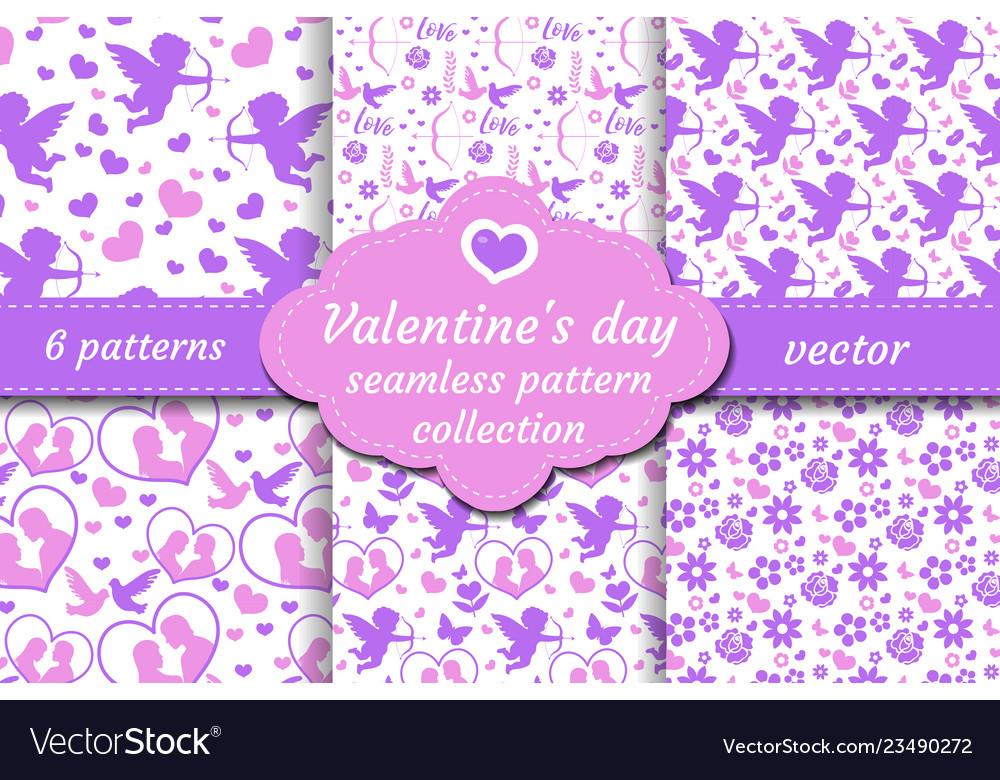 Happy valentine s day seamless pattern set