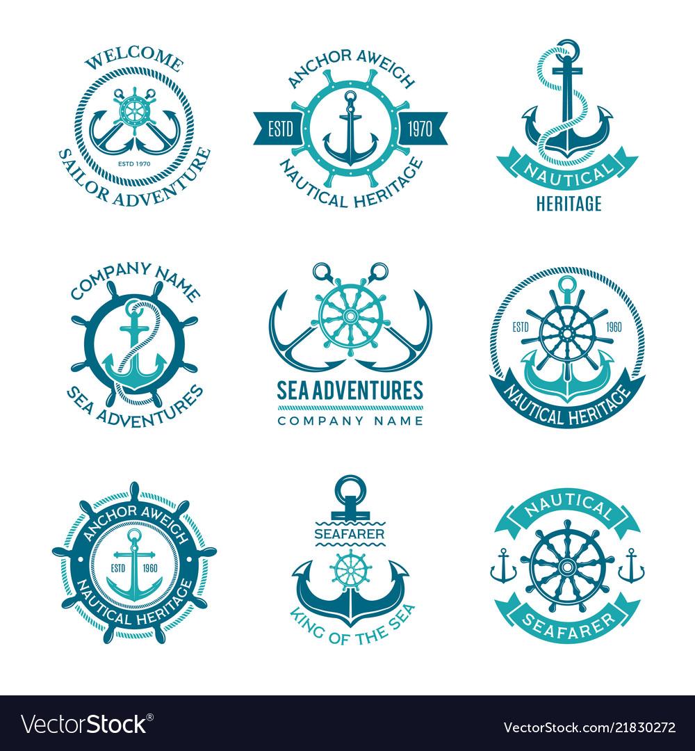 Marine logo nautical emblem with ship