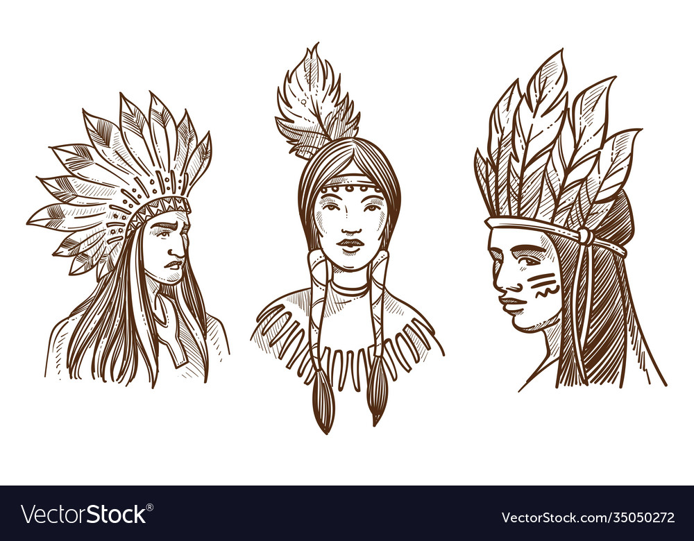 Native americans isolated sketch portraits of