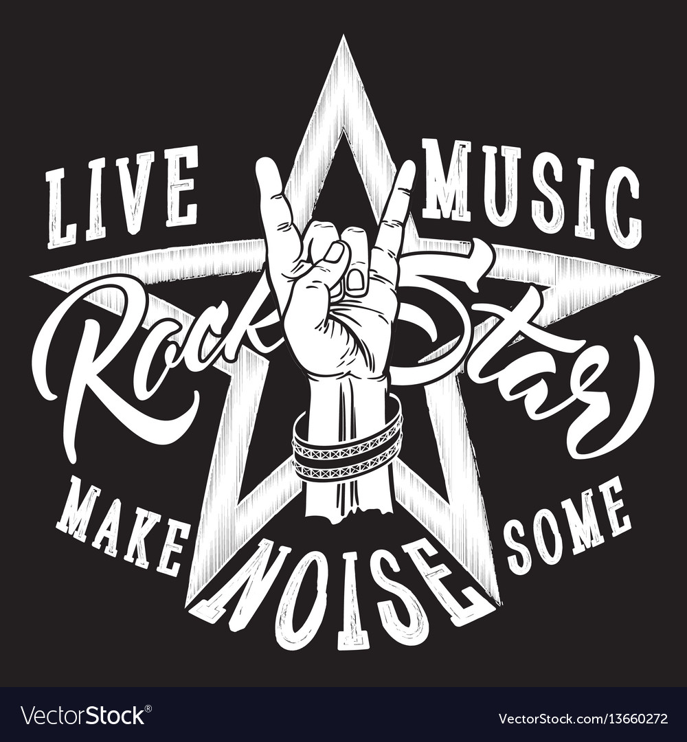 Rock and roll hand sign with rock star inscription