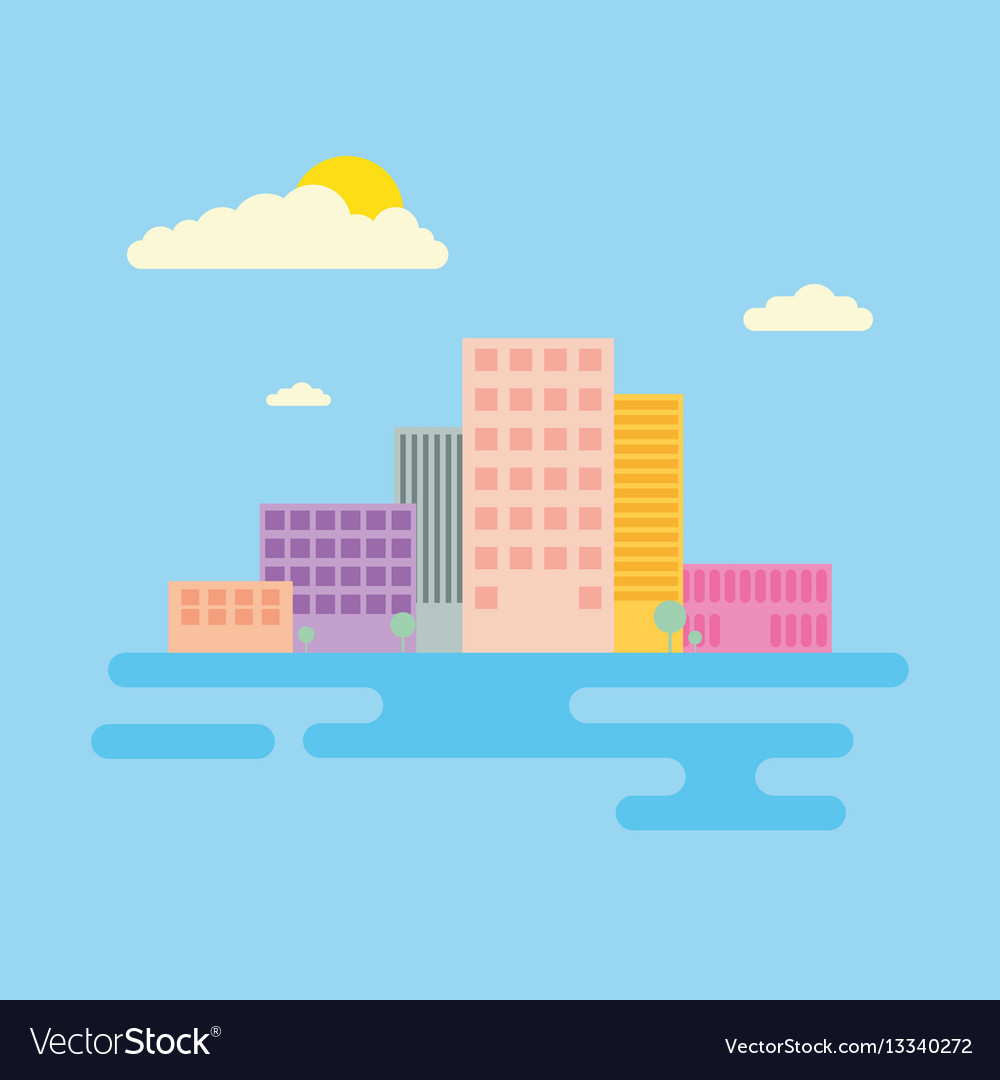Set of urban landscape and city life