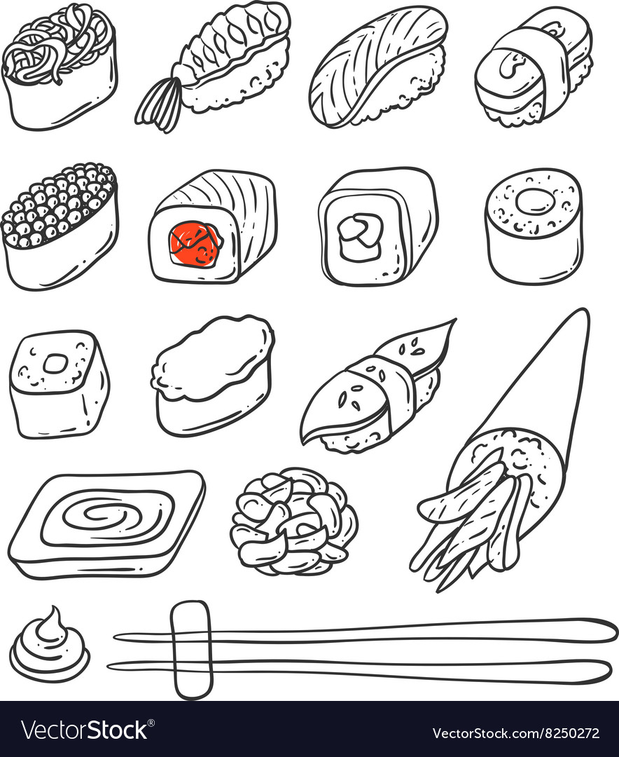Sushi hand drawn vector image